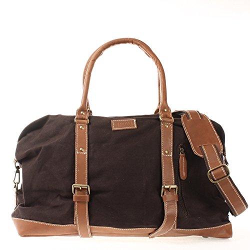 LECONI Weekender groß Canvas Echtleder Retro Reisetasche Unisex Damen Herren Sporttasche Handgepäck 60x38x25cm LE2010-C mokka / braun
