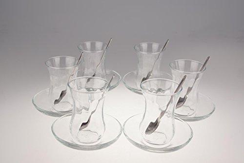 Orginal türkisches Tee Set Teeset 'Basic'/ 6 klassische Gläser von Pasabahce/ 6 Rührlöffel (von KD)/ 6 Untersetzer