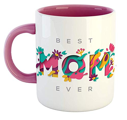 La Lady Store MG004 Best Mom Ever Ceramic Printed Pink Coffee Mug | Special | Birthday | Anniversary | Mothers Day Gift for Mom | Mother | Mummy