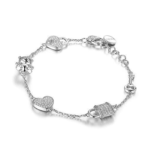 Rosato bracciale donna linea sogni in argento con charms cuore orsetto lucchetto