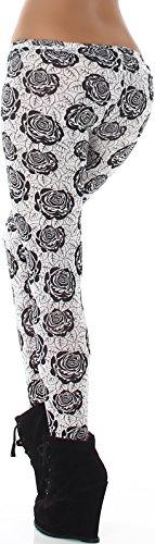 Q.C. Damen Stoff-Leggings lang weich zart dünn Print bedruckt (34/36/38/40/42/44) Schwarz-Weiße Rose