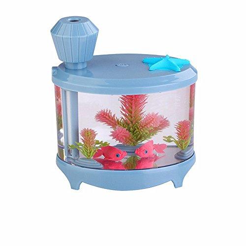 efanr Mini-Aquarium Luftreiniger Luftbefeuchter mit LED Nachtlicht Fisch Schalen Aquatic Pets Home Decor 460ml Ultraschall Mist Maker Air Luft-Aroma Luftreiniger für Home Schlafzimmer Büro Auto blau (Ofen Mini Micro)