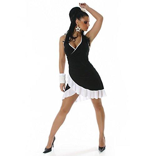 Damen Mini Kleid Sexy Sommer Damen Kleid mit Halskrause eine Größe ...
