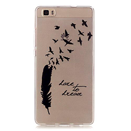 Qiaogle Telefon Case - Weiche TPU Case Silikon Schutzhülle Cover für Apple iPhone 5 / 5G / 5S / 5SE (4.0 Zoll) - XS09 / Rote Liebe Weiße Chrysantheme XS02 / Schwarze Federn und Freiheit