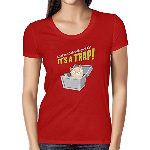 Texlab Look Out Schrödinger's Cat - Damen T-Shirt, Größe XL, Rot
