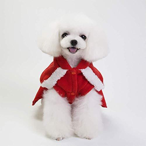 Qbk Haustier Weihnachtskostüme Männliche Und Weibliche Europäische Amerikanische Hunde Herbst Und Winter Vierbeinige Kleider-Rot