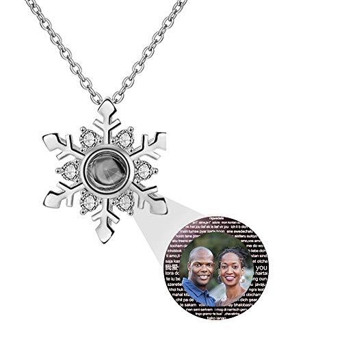 hjsadgasd Benutzerdefinierte gravierte Foto ich Liebe Dich Halskette 100 Sprachen Projektion Sterling Silber vergoldet Anhänger Liebe Speicher Halskette Womens Schmuck