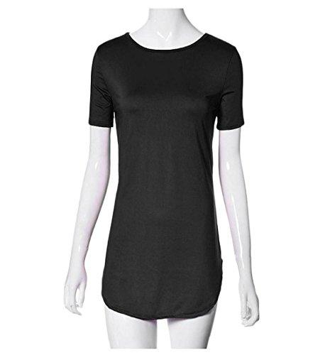 Rcool Lässige Sommer Bandage figurbetonten Abend Partykleid unregelmäßige O-Neck-Mini-Rock für Frauen Damen Mädchen Schwarz