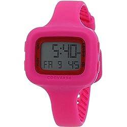 Converse Women's Pink Silicone Band Steel Case Quartz Grey Dial Digital Watch VR025-615
