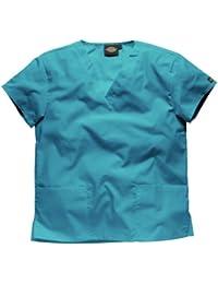Blouse tunique médicale unisexe Dickies col V manches courtes Coton/Polyester-Couleurs noir/blanc/bleu/rose/vert/violet/turquoise-Professions infirmière/ médecin/ dentiste/ vétérinaire/ santé