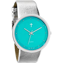Belief Women's | Funky Minimalist Large Teal Blue Face Metalic Silver Band Watch with Cross Logo | BF9658TL