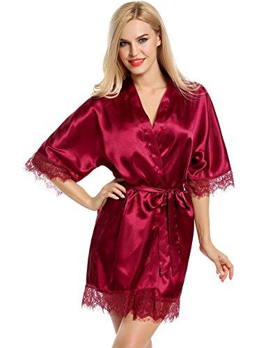 Caeasar Satin Damen Nachthemd Robe Schlafrock Morgenmantel Bademantel pajamas mit Spitze Weinrot