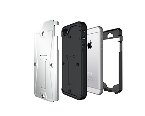 iPhone SE Coque, iPhone 5S Coque, Valenth Tank 3 in 1 Cover with Screen Protector Kickstand Waterproof Dual Layer Holster Hybrid Hard Coque for iPhone SE/5S 4.0inch Grey Argent