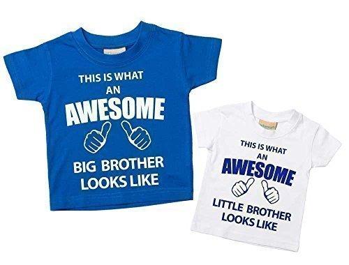 Dieses Was Eine Prima Großer Bruder Kleiner Bruder T-shirt Set blau-weiß Baby Kleinkind Kinder Verfügbar in Größen 0-6 Monate wird 14-15 Jahre Neu Baby Bruder Geschenk – Blau, Klein 50-62, Groß 110-116