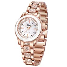 Ladies Watches,Bling Watch Ladies with Strap Stainless Steel Band,SIBOSUN Gold Ladies Watch Sale&Fashion Bracelet Quartz Dress Crystal Watches for Women-Rose Gold