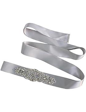 Siswong Brillantes Cinturones Flores Fiesta Mujer para Boda Novia Aplique Correa para el Vestido Multicolor Cristales...