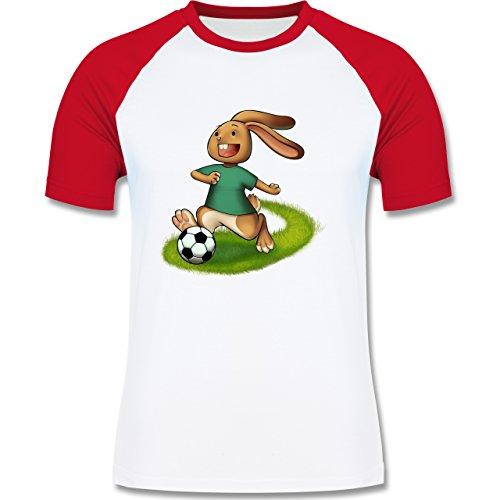 Fußball - Fußball Hase - zweifarbiges Baseballshirt für Männer Weiß/Rot