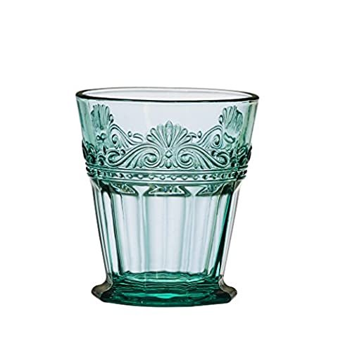 Amici Rococo Teal Collection Double Old Fashioned Glass–Set of 4by Amici Home