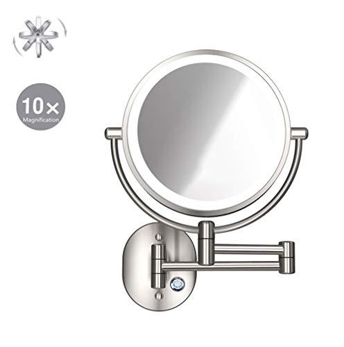 XNDCYX Espejo De Aumento De Pared con Luz LED, Doble Cara Giratoria De 360 ° Espejo De Maquillaje Espejo...