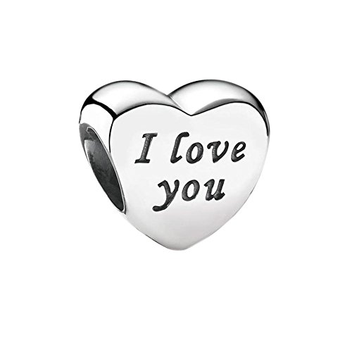 Soulbead Words of I Love You Echtes 925Sterling Silber Herz Charm Bead für kompatible Marke Europäische Armband