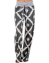 f9d0cb2fb314 Leggings Geometry Print Pantaloni Lunghi Pantaloni A Gamba Larga con  Classiche Coulisse Pantaloni Estivi Pantaloni da Ragazzi Donna…