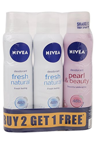 Nivea Fresh Natural Deodrant, 3x150ml with Pearl and Beauty Deodrant, 150ml (Buy2 get 1 Free)