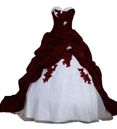 O.D.W Frauen Lange Formales Gotisch Brautkleider Spitzenkleid Vintage...