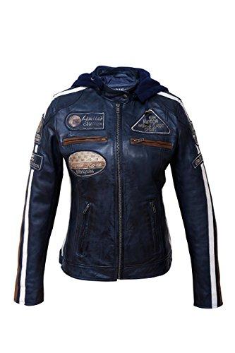 Urban Leather Damen Motorradjacke mit Protektoren, Navy Blue, Große 3XL