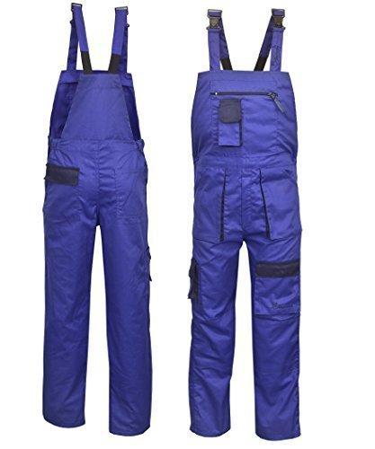 NORMAN königsblau Kontrast Maler Arbeitskleidung Latz und Klammer Overall OVERALL dungaress Schwerlast - Königsblau, Small