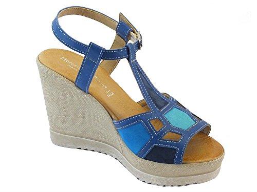 Sandali per donna Mercante di Fiori in pelle blu e camoscio multicolore zeppa alta Blu