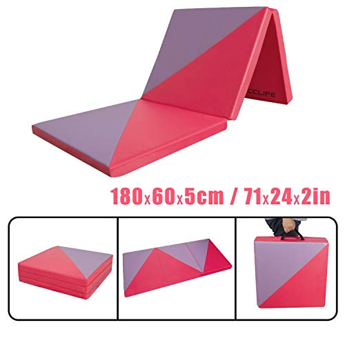 CCLIFE Colchoneta Plegable de Espuma para Gimnasia Yoga Deportiva Yoga estrilla Triple Plegable 180/60/5cm, Color:Rojo & Purpura