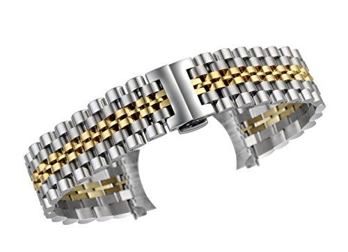 16mm Luxus austauschbare Uhrenarmband Armbänder aus massivem Edelstahl in zwei Tönen Silber und Gold (Austauschbare Uhrenarmbänder)