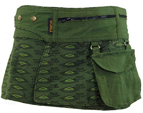 Guru-Shop Wickelrock, Cacheur, Sidebag, Damen, Olive, Baumwolle, Size:L/XL (42), Kurze Röcke Alternative Bekleidung -