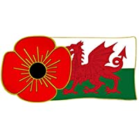 Pin en diseño de amapola y bandera de Gales