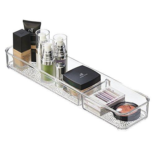 mDesign Vassoio Organizzatore Cosmetici per Armadietto per Tenere trucco, Prodotti di Bellezza - 2 Scomparti,Trasparente