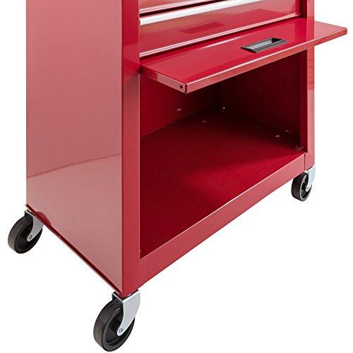 Arebos Werkstattwagen 9 Fächer rot (✓ zentral abschließbar, ✓ Abnehmbarer Werkzeugkasten, ✓ Massives Metall) - 4