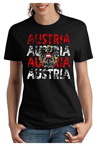 OM3 - AUSTRIA - Damen T-Shirt tailliert - ÖSTERREICH EM 2016 FRANKREICH FRANCE FUSSBALL FANSHIRT SOCCER SPORT TRIKOT EUROPAMEISTER, S - XXL Schwarz