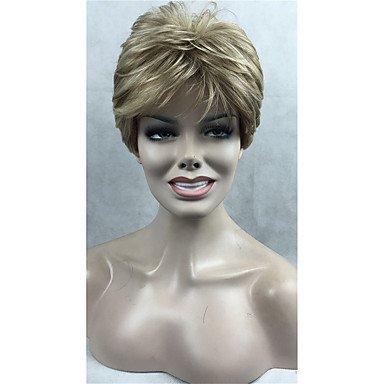 HJL-capless hochwertigen braun mit goldenen blonde Highlight kurzen geraden Frauen synthetische Perücke , 24h613 -