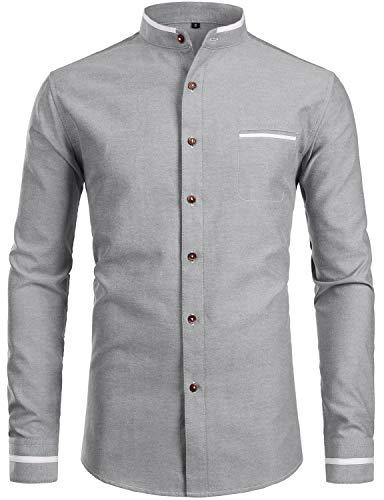 ZEROYAA Herren Hemd mit Tasche, Hipster, Mandarinenkragen, Slim Fit, langärmelig, Casual Button-Down - Grau - Mittel (Banded Shirt Arbeiten Collar)