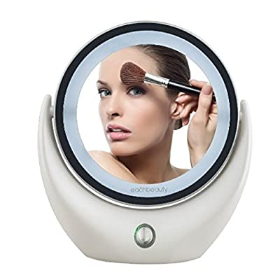 KEDSUM 1X/5X Magnification Illuminated Double Sided Makeup Mirror,USB Rechargeable Daylight LED light Cosmetic & Vanity Mirror with 360° Rotating,13 cm Wide, Beauty Supply for Your Bedroom, Bathroom Or Travelling
