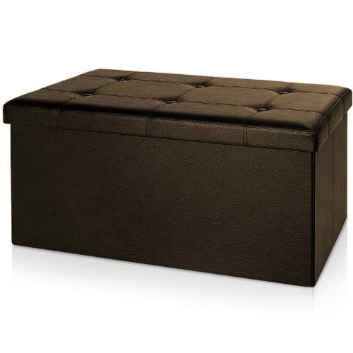 Deuba Faltbare Sitztruhe Sitzbank Kunstleder Braun | 80x40x40cm | Stauraum 128 L | Hohe Belastbarkeit | Gepolstert - Aufbewahrungsbox Fußbank Hocker Ottomane