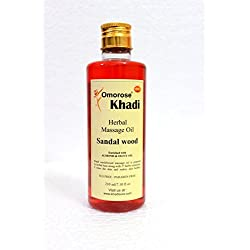 Khadi Sandalwood Massage oil , 210 ml (Almond oil, jojoba oil, wheatgerm oil, olive oil, Sesame oil,Vitamin E oil) Without mineral oil