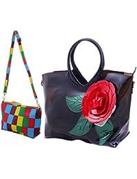 BFC- Buy For Change Fancy Stylish Elegant Women's Black Handbags With Multicolor Sling Bag Plastic Bag.