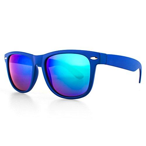 Distressed Blues Matt matte Sonnenbrille im Retro Wayfarer Stil 80er (royalblau-blau-grün-verspiegelt) (Herren-blau Grün)