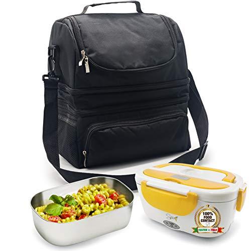 Spice borsa termica caldo e freddo big size grande capacità 22 l con tracolla porta pranzo + scaldavivande amarillo inox 1,5 l vaschetta acciaio inox estraibile