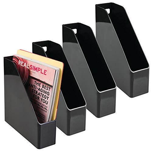 mDesign 4er-Set Archiv-Stehsammler in schwarz - Zeitschriftensammler aus Kunststoff - Schreibtisch-Organizer für Zeitschriften, Magazine, Notizen & Co. - hochwertig & praktisch