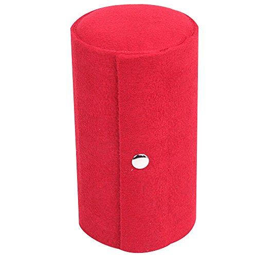 Tragbar 3Ebenen Fach Zylinder Fusseln Rolle bis Jewelry Box Case Organizer Halter, rot, Einheitsgröße (Zylinder-fach)