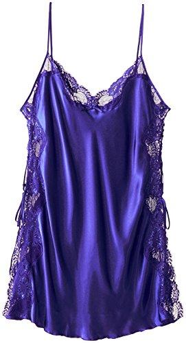 Shirley of Hollywood Nummer X20015Größe 1x Electric Blue Charmeuse Schnürschuh Chemise (Chemise Damen Charmeuse)