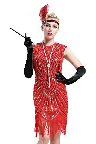 Babeyond Damen Kleid voller Pailletten 20er Stil Runder Ausschnitt Inspiriert von Great Gatsby Kostüm Kleid (Größe S / UK8-10 / EU36-38, Hellrot) (Flapper Kleid Rot Kostüme)