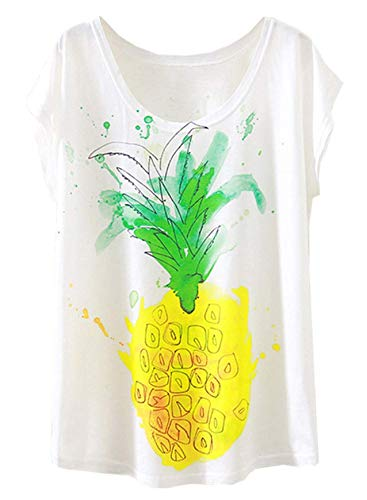 Damen Basic Crewneck Tee (Doballa Damen Flamingo T-Shirt Floral Crown Garland Muster Kurzarm Niedlich Oberteile (M, Ananas))